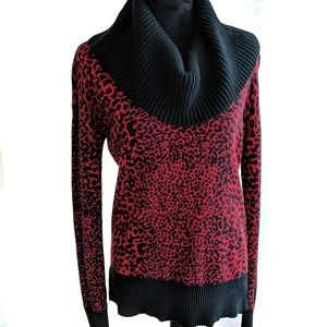 Michael Kors Women's Red Cheetah Sweater Size S